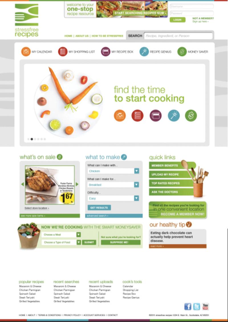 stressfree recipes custom website print digital design